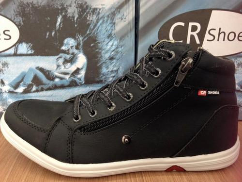 bota casual na cor preta com zíper 1457