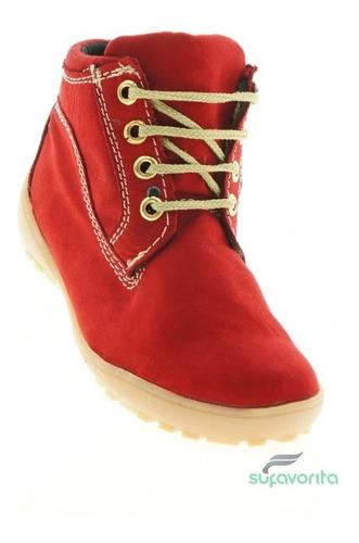 bota casual para niña marca kobalto  nobuck rojo 1446