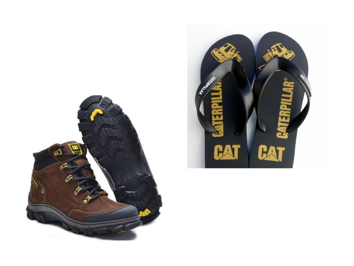 3a0afe3576 Bota Masculina Caterpillar Original Em Couro +chinela Cat! - R  159 ...
