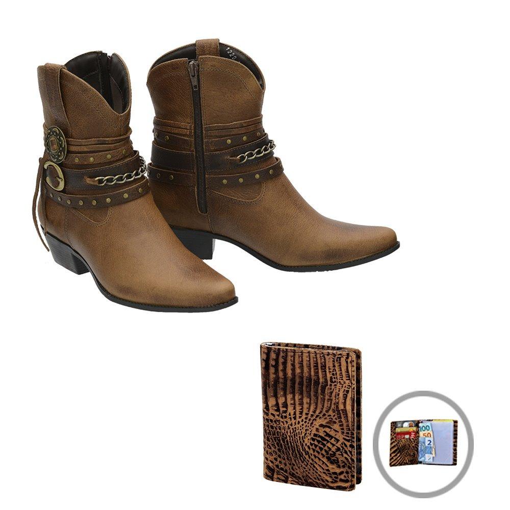 Bota Cavalgada Feminina Country Texana Botina Rodeio Casual - R  177 ... 1ebfa7f3386