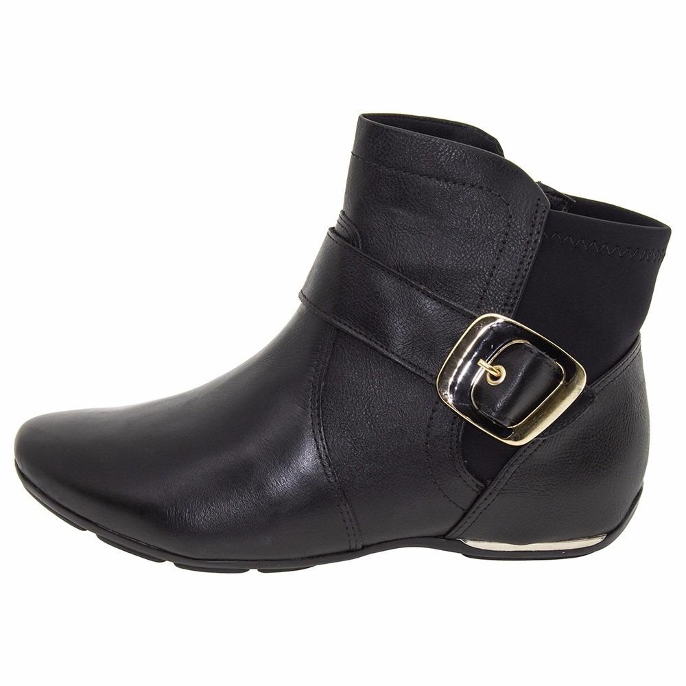 6ad2adbe910 bota comfortflex feminina preta cano curto rasteira 1791302. Carregando  zoom.