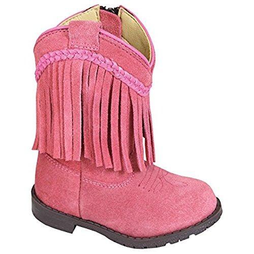 bota con cremallera con flecos en rosa western hopalong