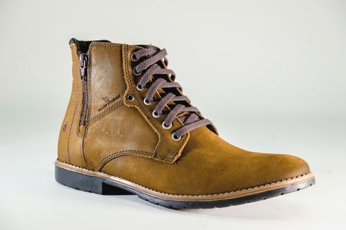 bota coturno casual ziper lateral e 100% couro - confortável