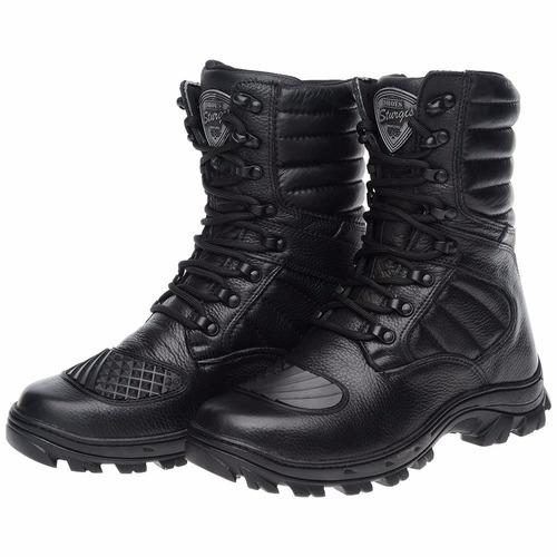 bota coturno de couro militar swat airsoft palmilha gel