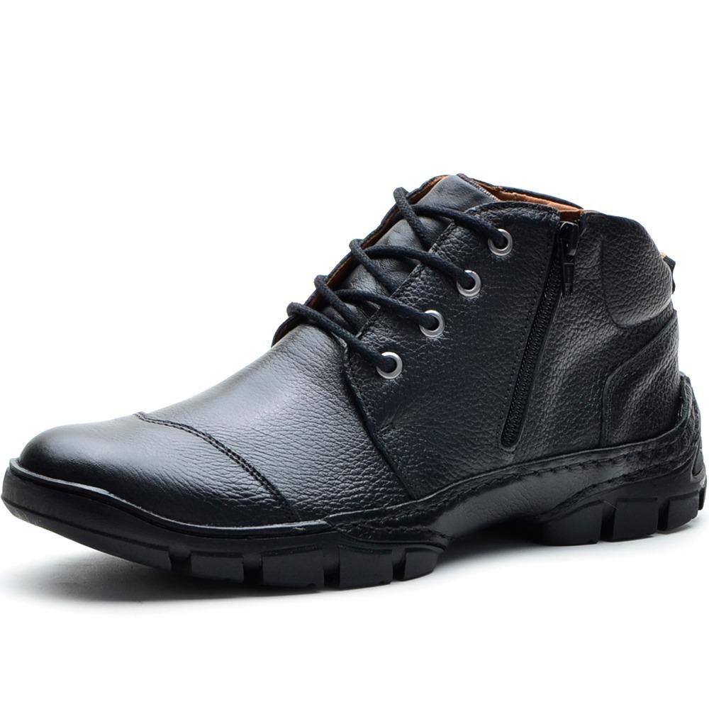 ceddb1a73 bota coturno em couro masculina floater preto zíper 20-15. Carregando zoom.