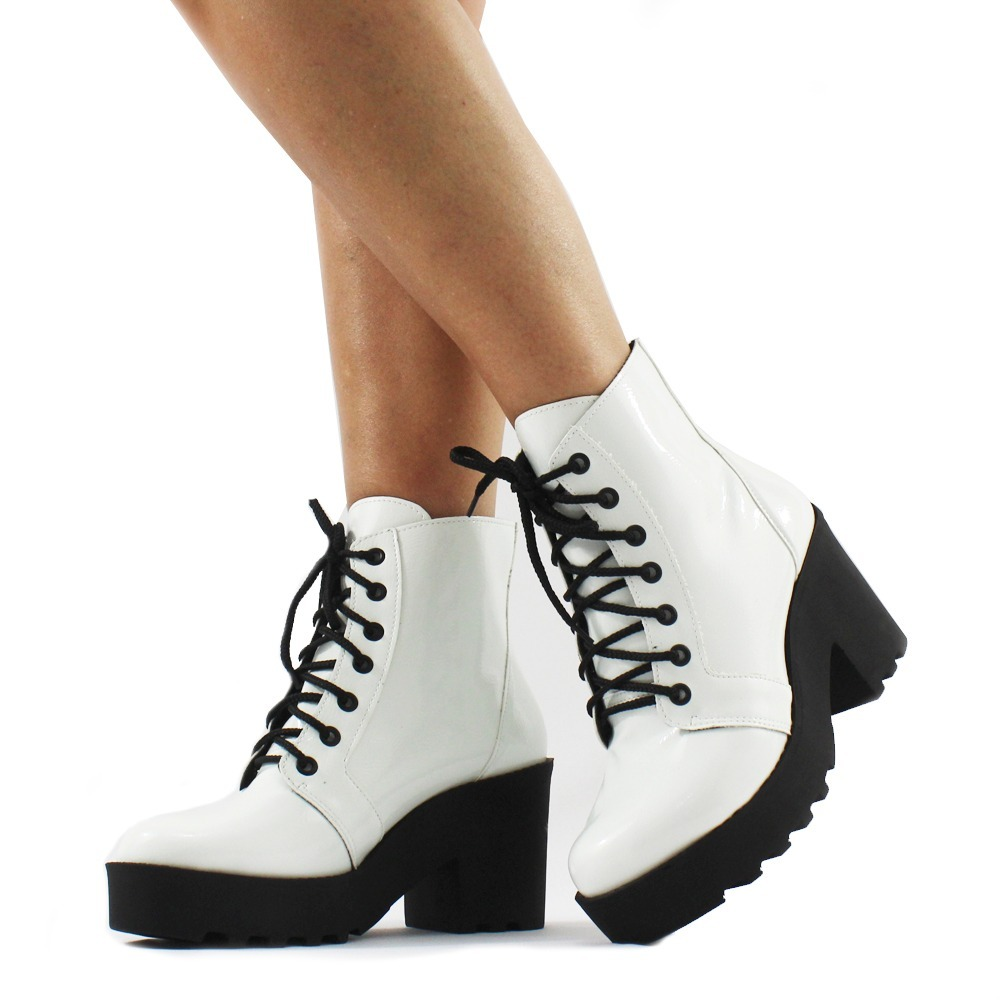 bd8b014c9 bota coturno feminina branca salto tratorado moda tendência. Carregando  zoom.