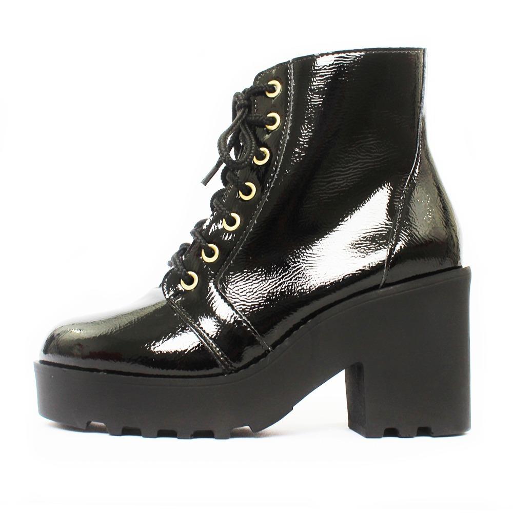 8c6f1648b bota coturno feminina tratorada verniz molhado preto. Carregando zoom.