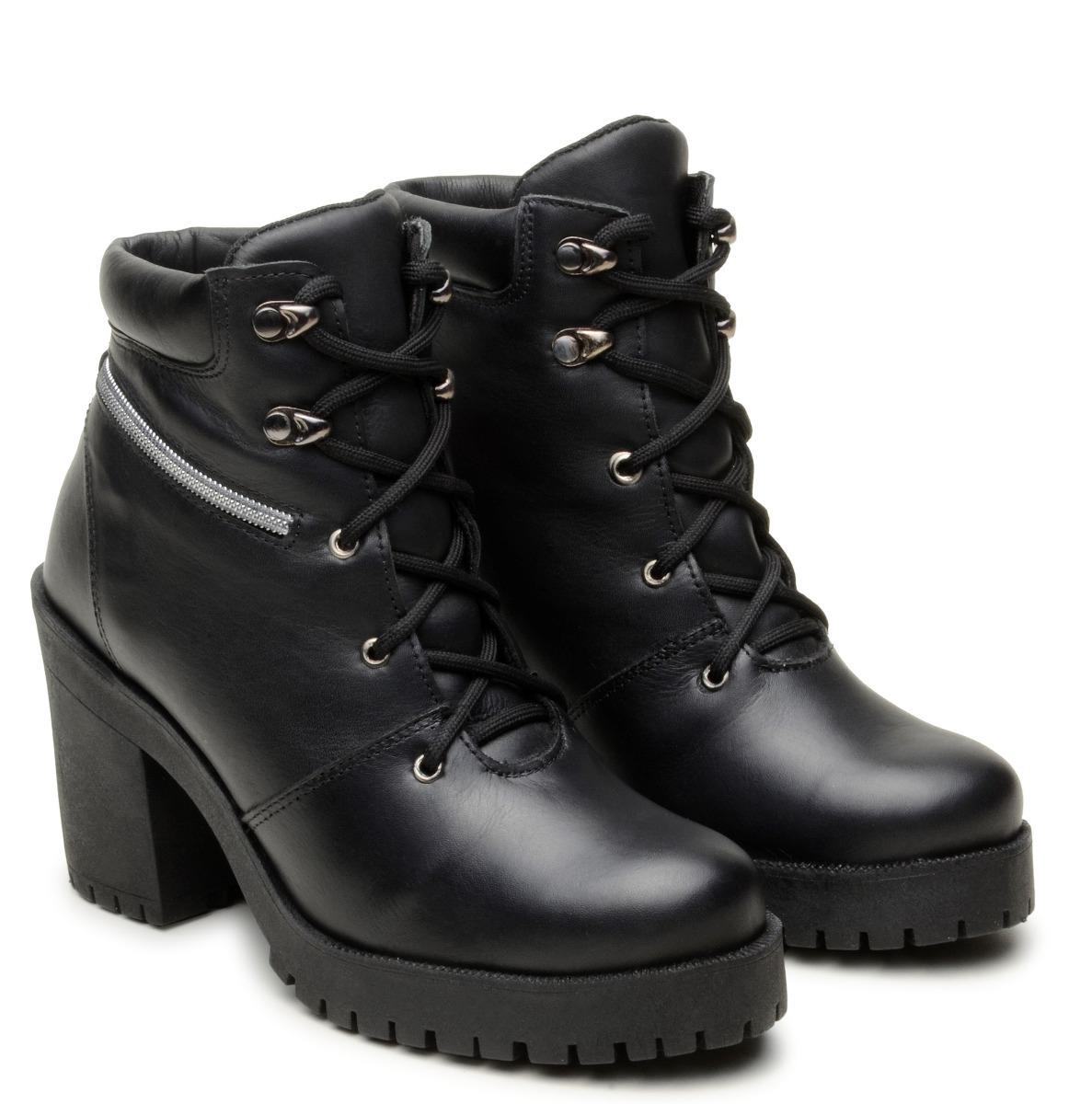 4131c7e973 bota coturno feminino 100% couro confort salto alto preto. Carregando zoom.