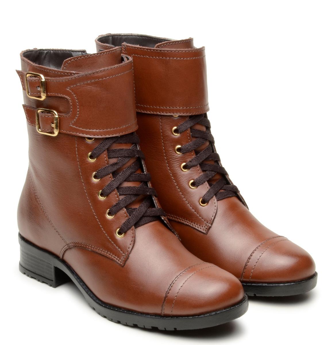 65da8a1847 bota coturno feminino 100% couro sem salto cano baixo marrom. Carregando  zoom.