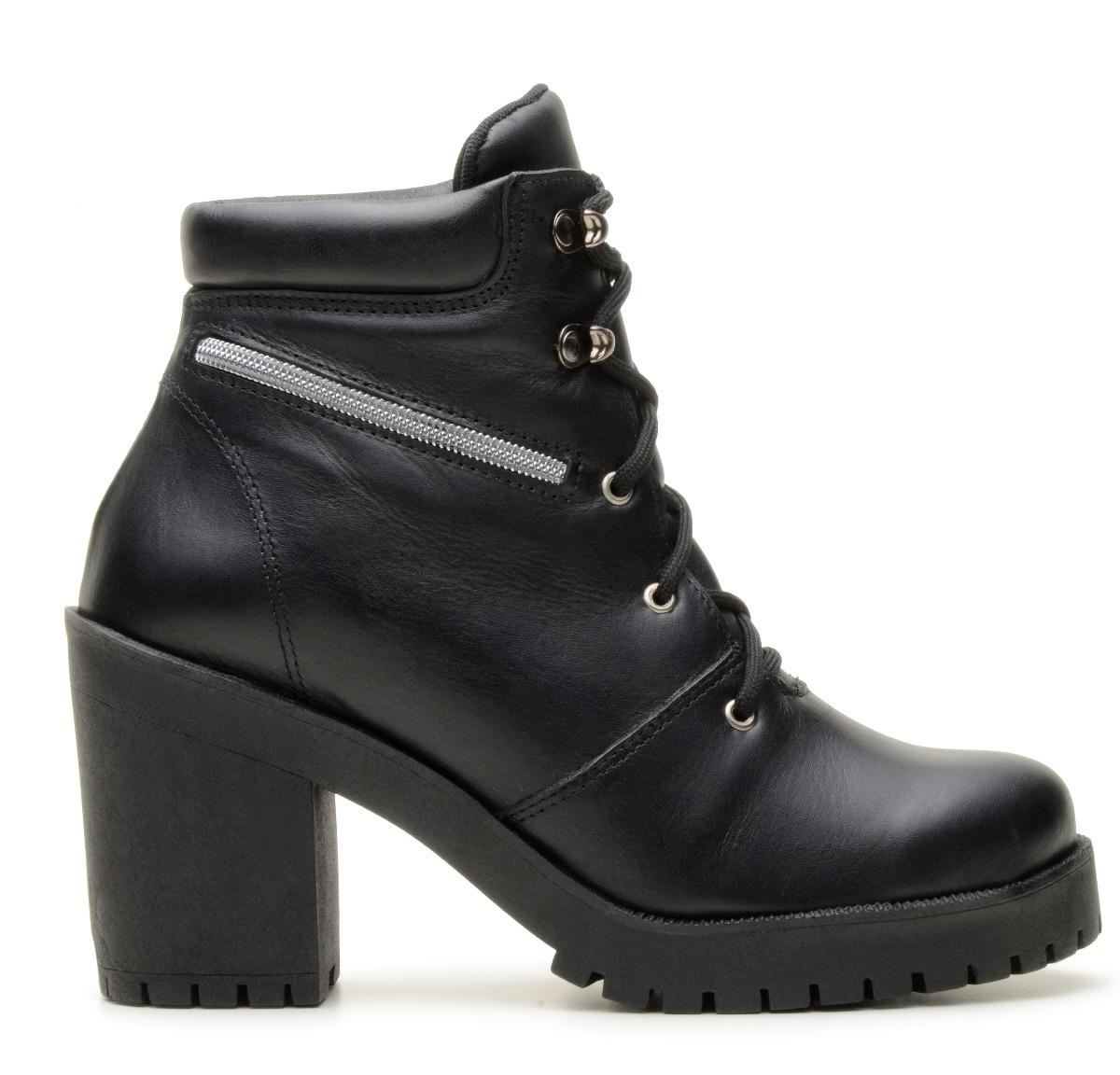 cd48eabca2 Carregando zoom... coturno feminino bota. Carregando zoom... bota coturno  feminino 100% couro confort salto alto preto