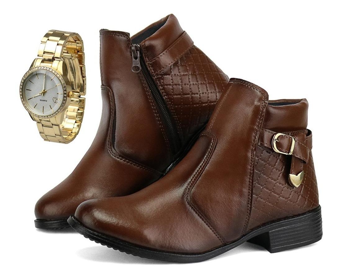 eda4328c18ce0 Bota Coturno Feminino Cano Curto Médio Com Relógio Feminino - R$ 84 ...