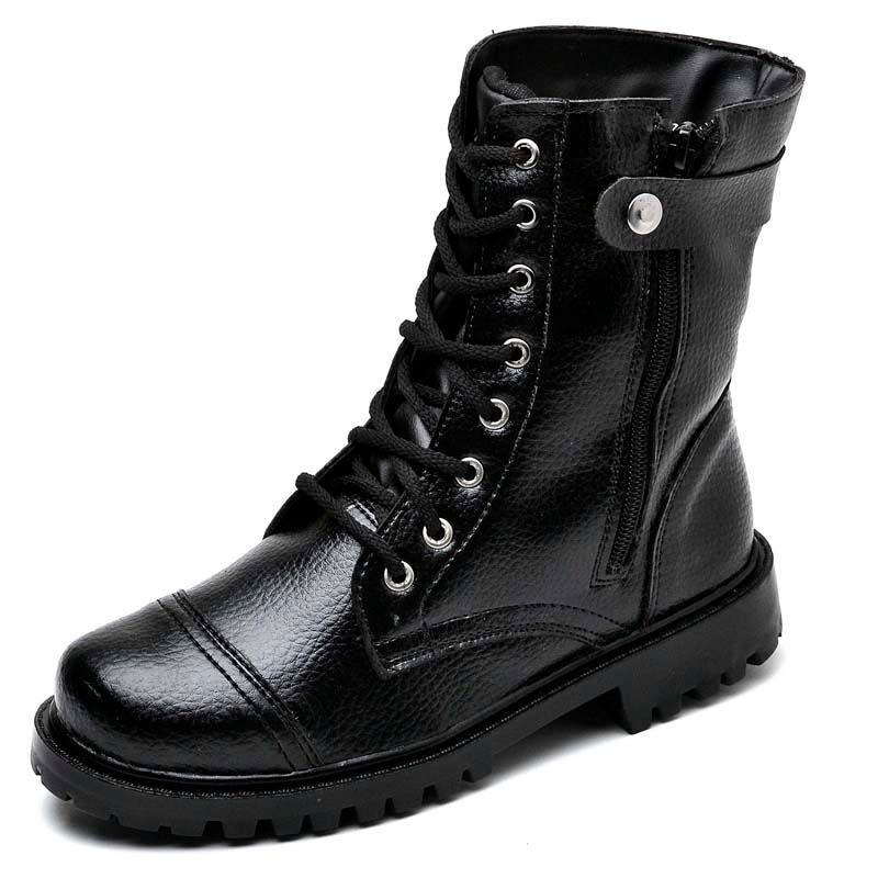 5090c733d5 bota coturno feminino cano médio couro moto ziper rock leve. Carregando  zoom.