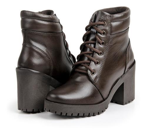 bota coturno feminino couro + 3 meias