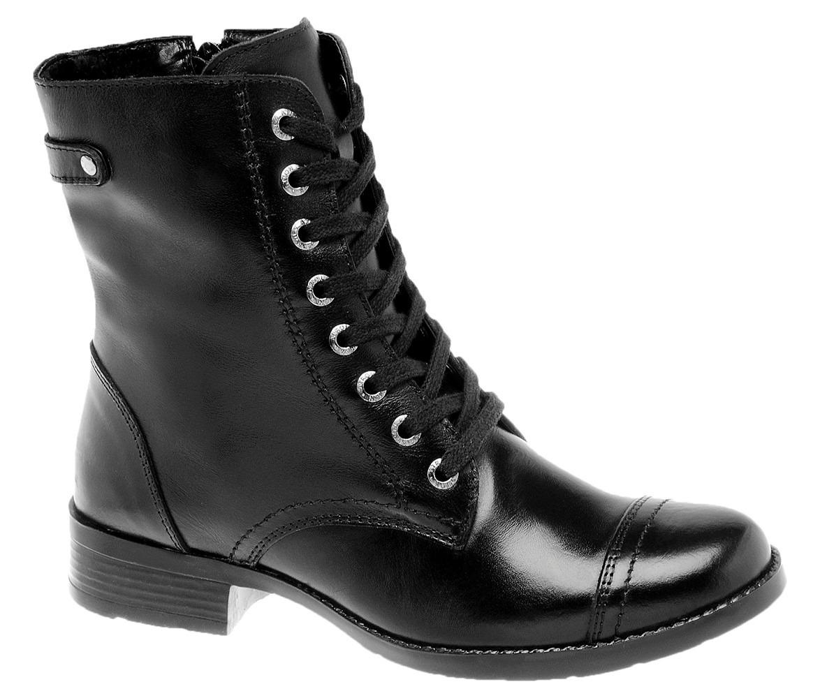 c50776f1b bota coturno feminino couro confort legítimo preto cano méd. Carregando  zoom.
