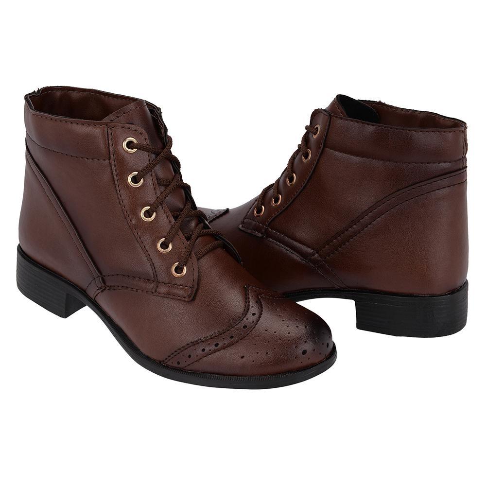 8c28996b8 bota coturno feminino giolo calçados cano baixo cadarço. Carregando zoom.