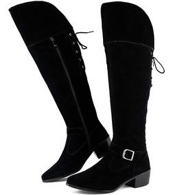 b6b48c760 Bota Over Knee Camurca - Botas para Feminino Marrom com o Melhores Preços  no Mercado Livre Brasil