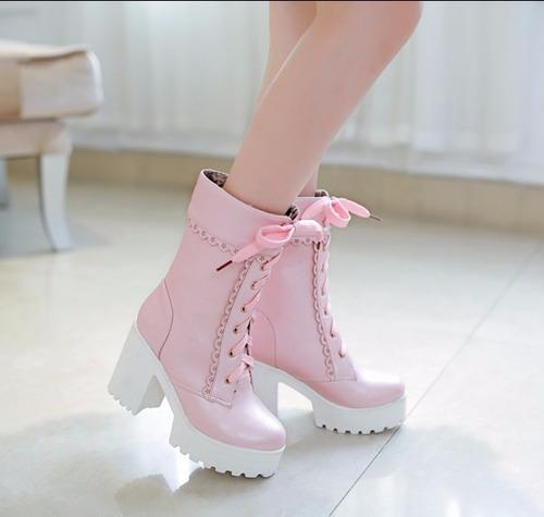 bota coturno feminino rosa tratorada salto alto grosso top