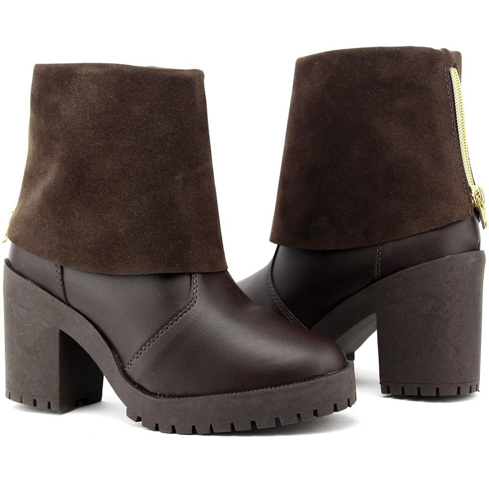 159466651 bota coturno feminino solado tratorada café marrom ziper dhl. Carregando  zoom.