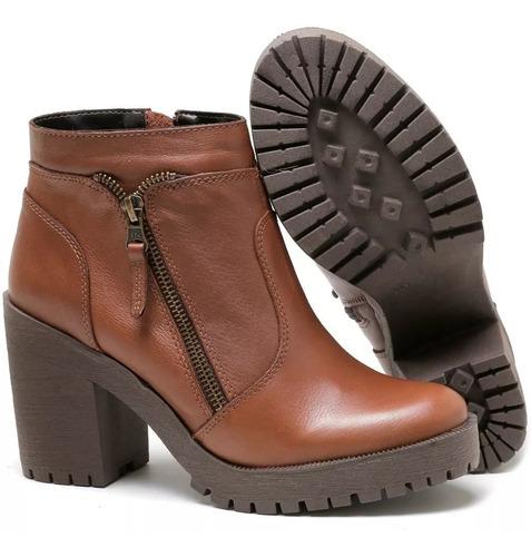 bota coturno feminino tratorada couro legitimo lançamento