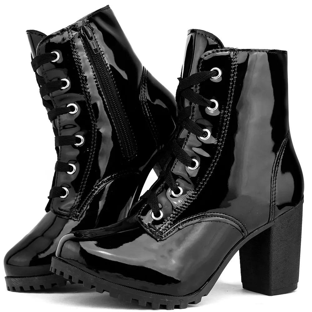 2fabddbb9 bota coturno feminino tratorada salto alto preta envernizada. Carregando  zoom.
