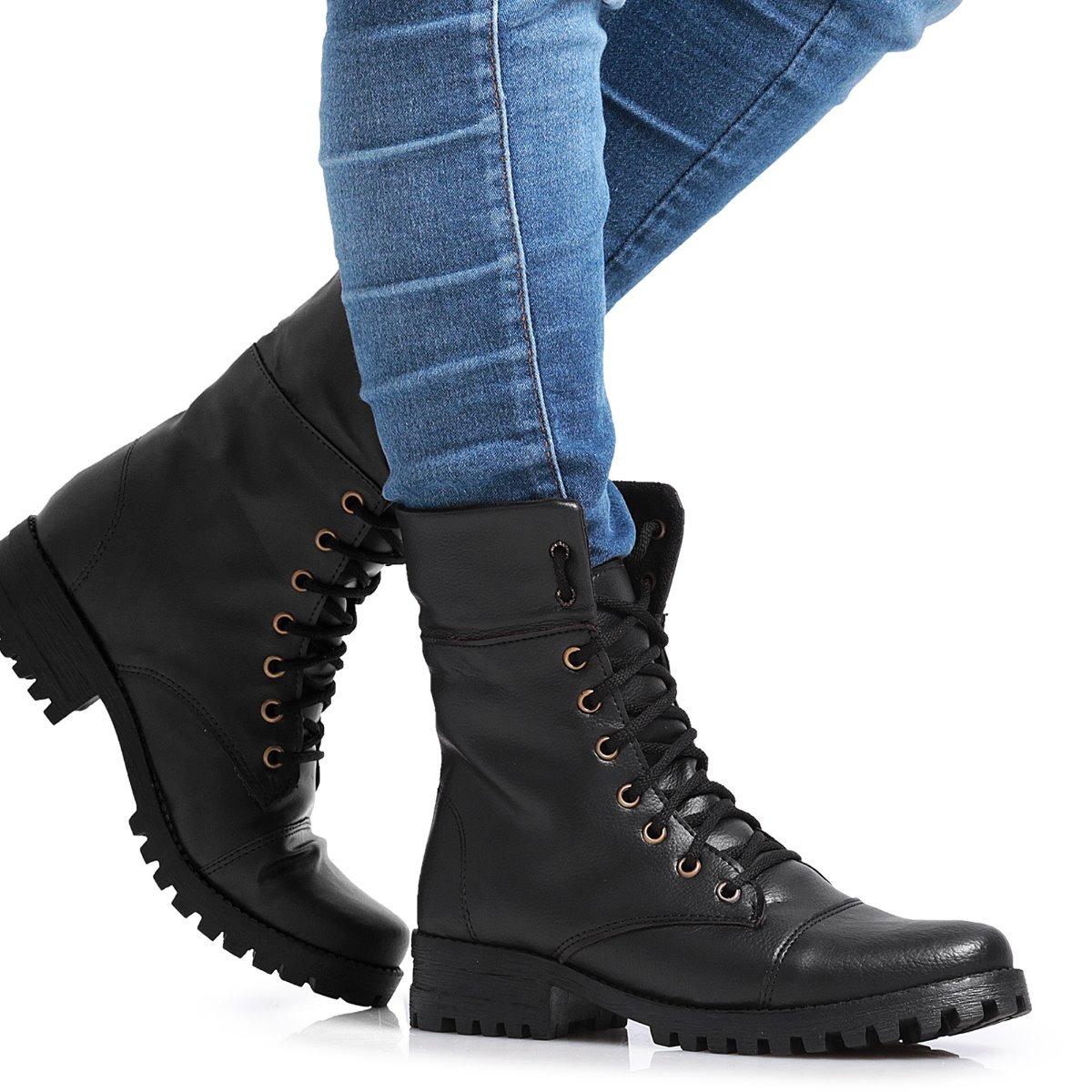 7910c6a54 bota coturno feminino vira cano alto estilo militar promoção. Carregando  zoom.