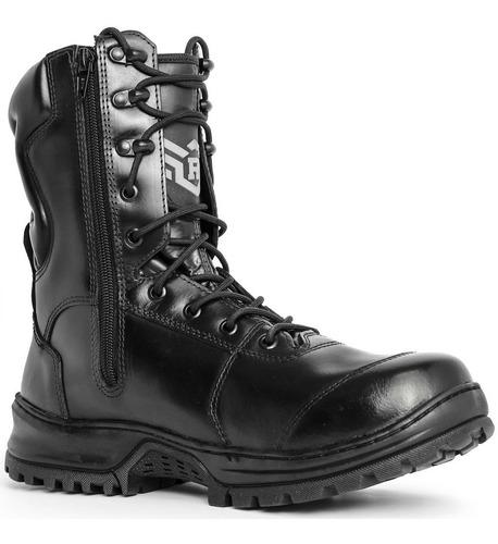 bota coturno militar zíper lateral couro cano alto tática