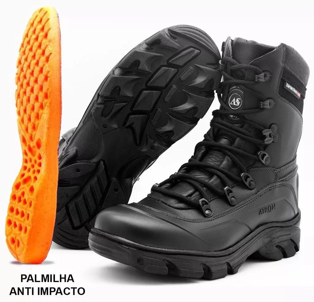 43fe654a11a13 Bota Coturno Tática Atron Shoes Calçados Militar Preto 280 - R$ 225 ...