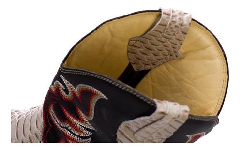 bota country anaconda bico quadrado couro nobre branca