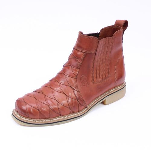 5c229373b0 bota country botina masculina couro nobre moderna escamada. Carregando zoom.