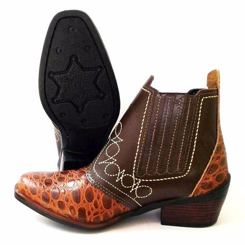 bota country cowboy marca campolina em couro legitimo croco