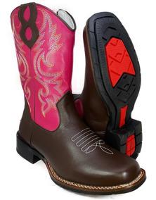 f4a2f47d26d728 Bota Country Feminina Bico Quadrado Texana Couro Rodeio 9015