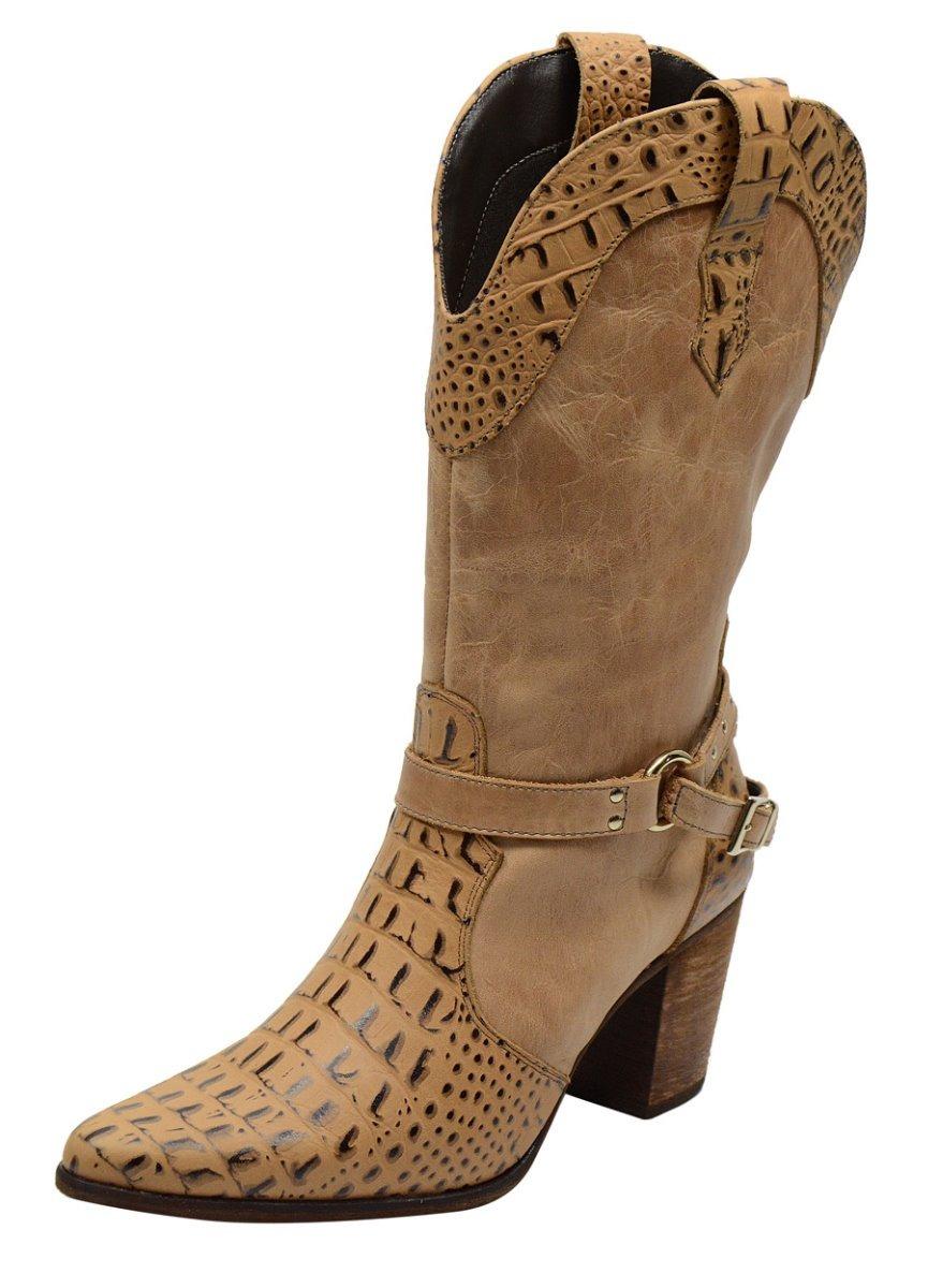 bb9992e51120f bota country feminina cano alto fivela ziper couro legitimo. Carregando  zoom.