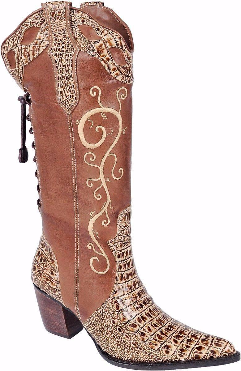 ef10c165ab8 bota country feminina cano longo texana rodeio couro rodeio. Carregando  zoom.