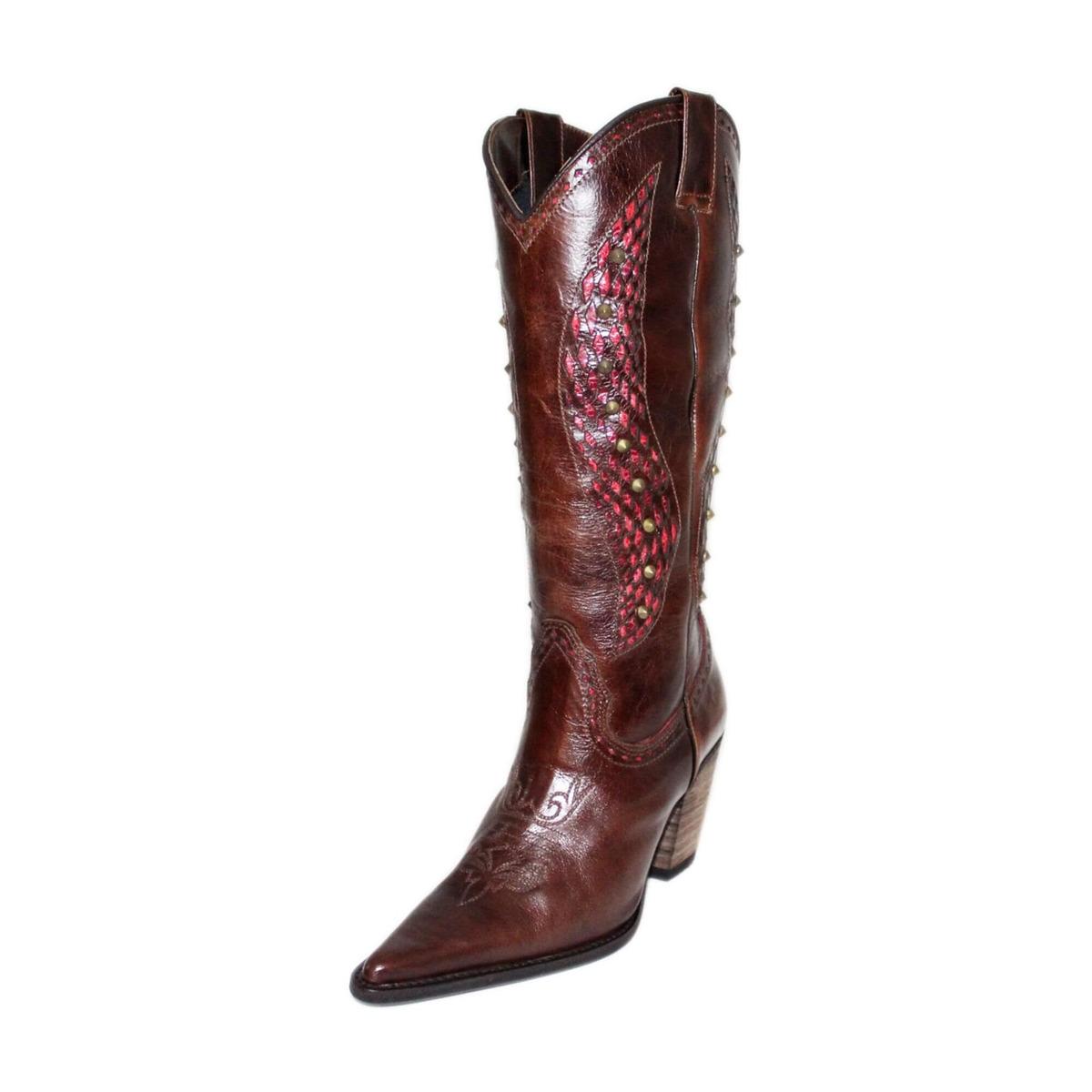c776532a4f Bota Country Feminina Couro Café Tucson - R$ 590,79 em Mercado Livre