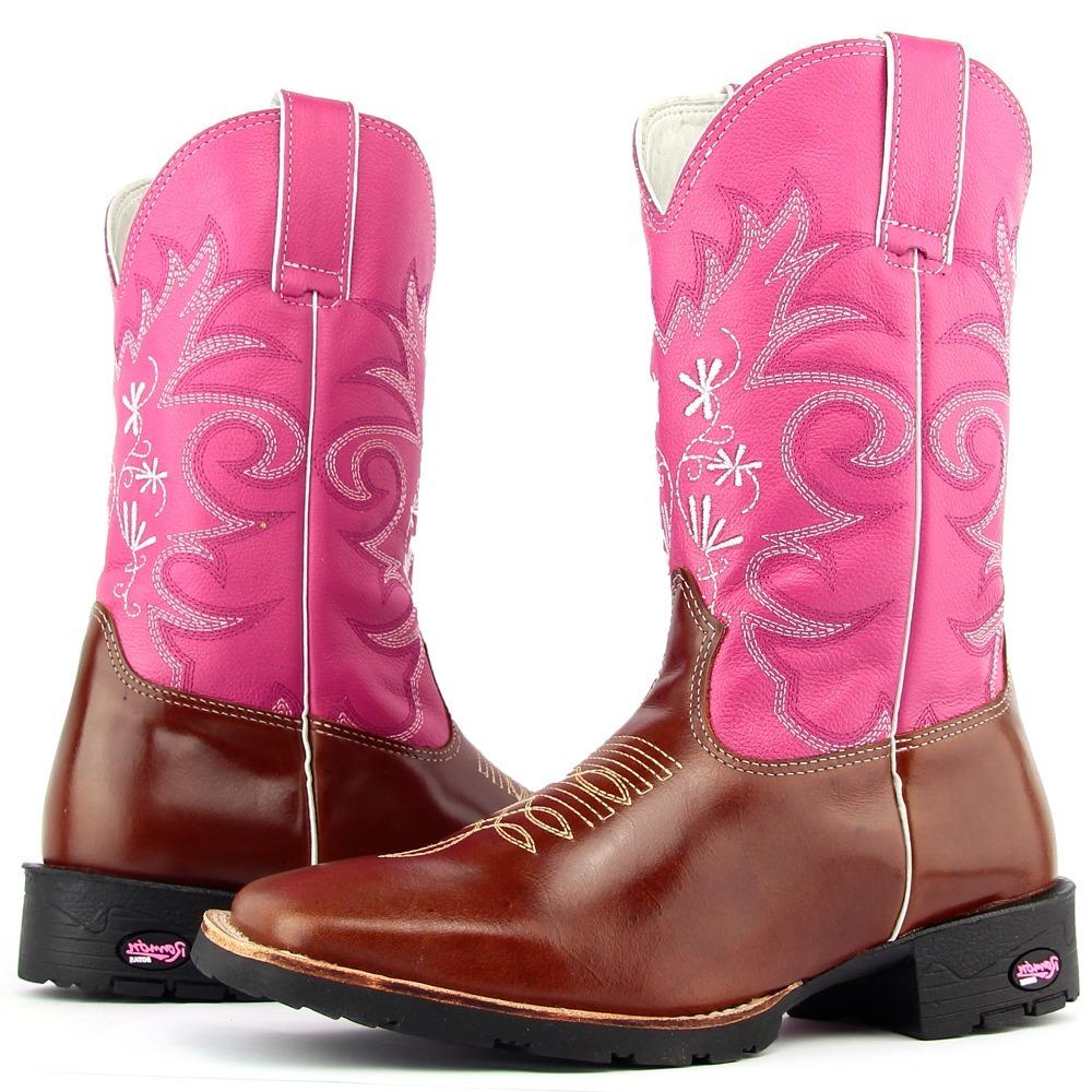 a22ec5ae43ff0 bota country feminina couro marrom e rosa solado borracha. Carregando zoom.