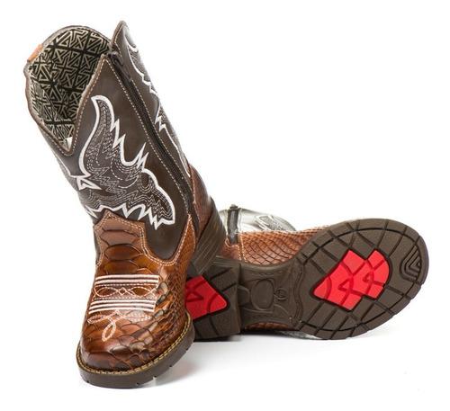 bota country infantil em couro bico quadrado peão barretos