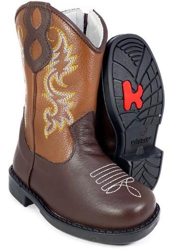 bota country infantil texana rodeio couro menino menina 8100