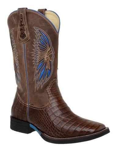 bota country masculina bico quadrado couro jacaré cano longo
