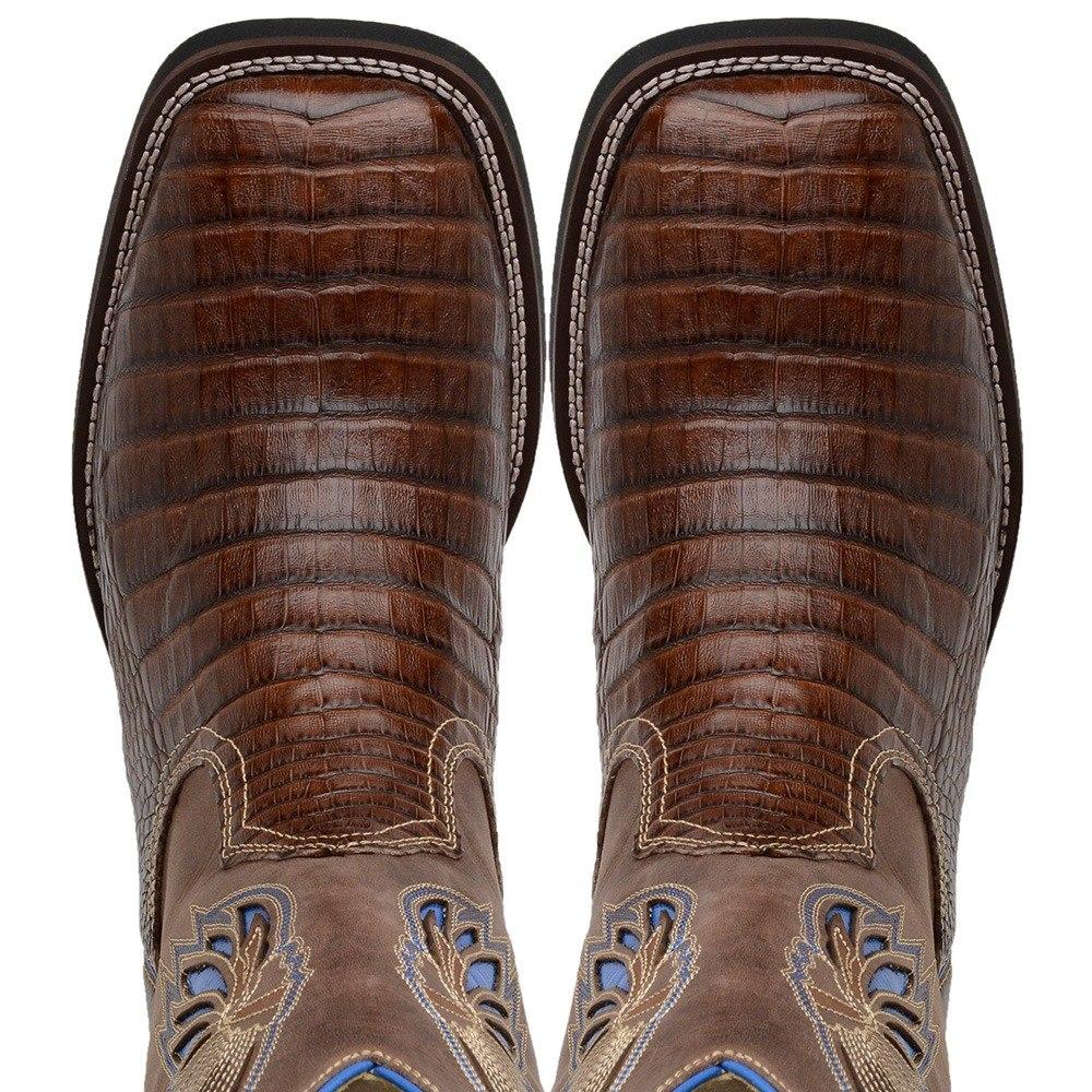 d42ea7dbcf bota country masculina bico quadrado couro jacaré cano longo. Carregando  zoom.