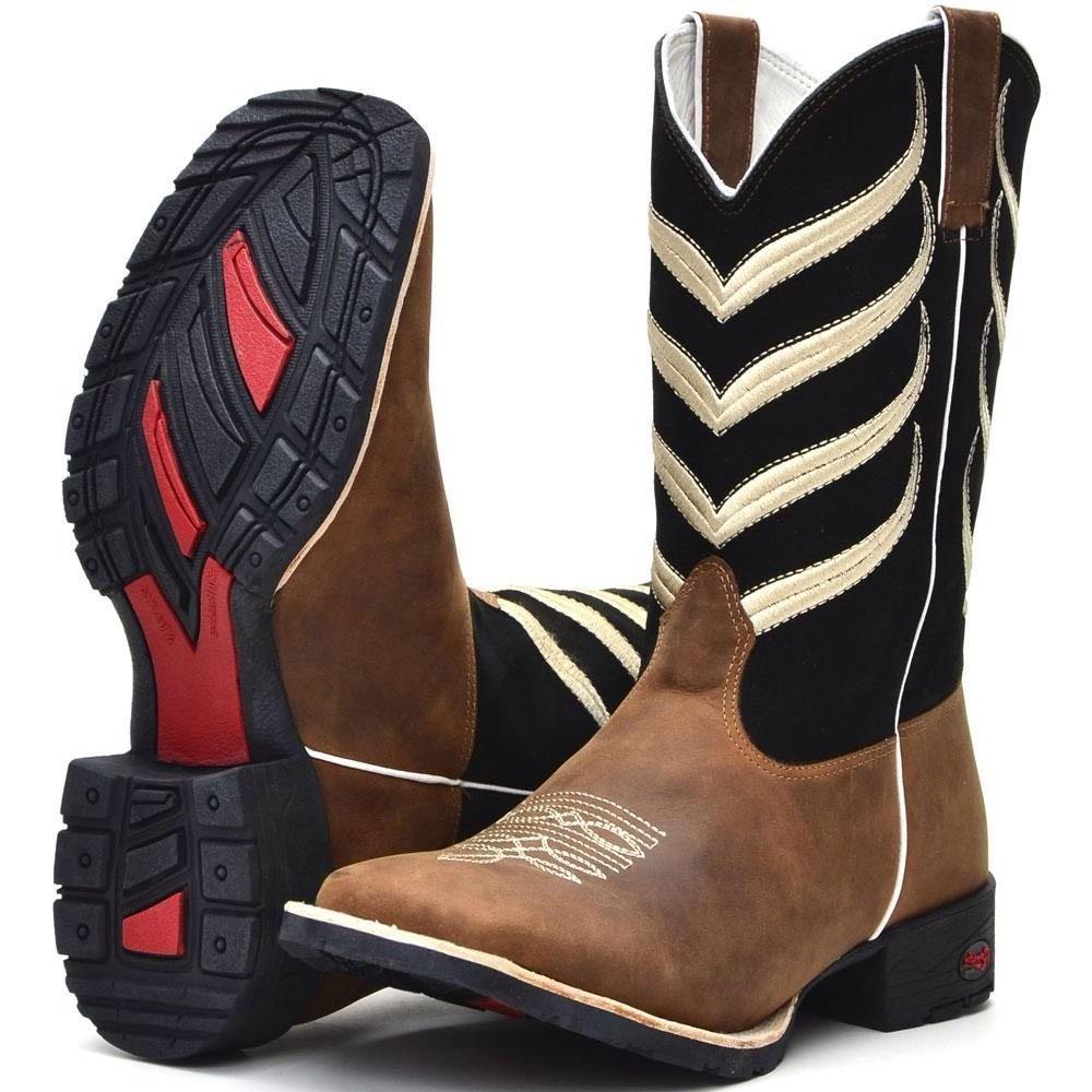 ... bota country masculina bico quadrado texana couro cano longo. Carregando  zoom. 99eff9b812a