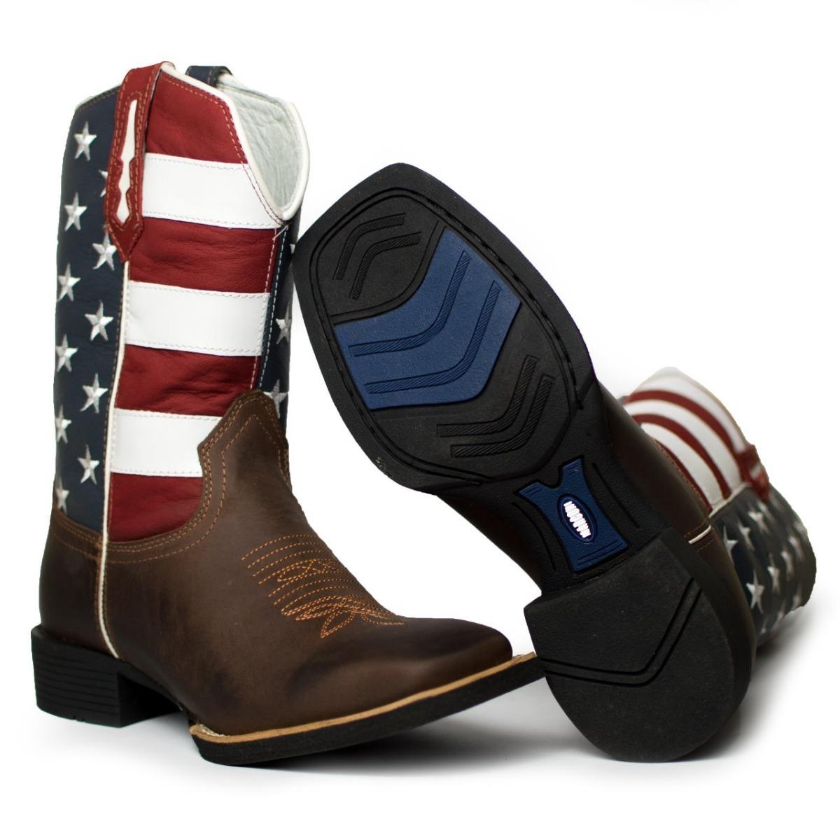 84e0ce33d7 bota country masculina bico quadrado texana couro marrom. Carregando zoom.