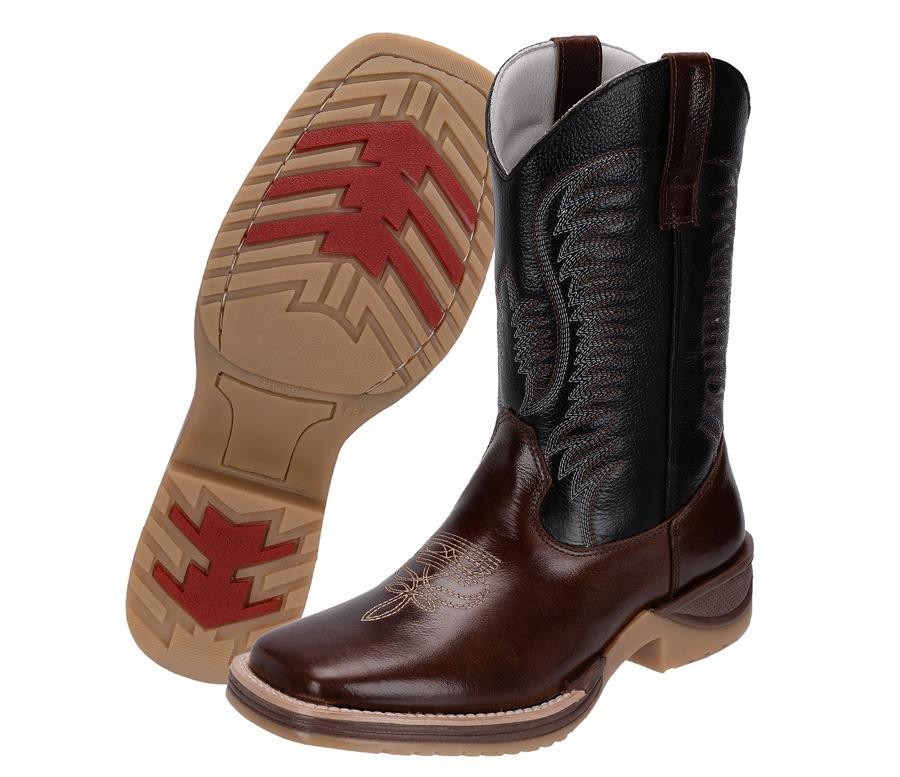 39a67db851 bota country masculina cano longo couro texana preto e café. Carregando zoom .