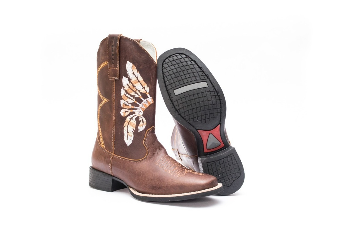ee290b8c2c Bota Country Masculina Eua Texana Bico Quadrado Couro - R$ 280,00 em ...