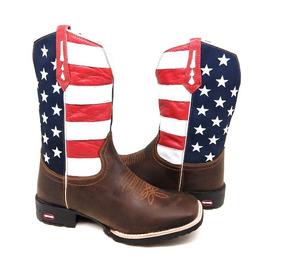 5db4932bf Bota Country Masculina Texana Americana Usa Couro Cano Long ...