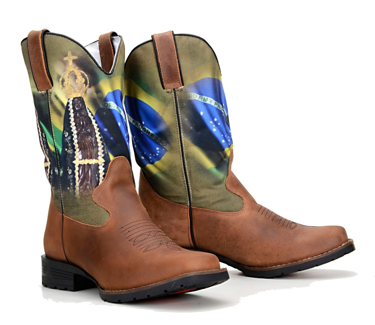 f0470ae81f2d9 Bota Country Masculina Texana Padroeira Brasil Cowboy Peão - R  284 ...