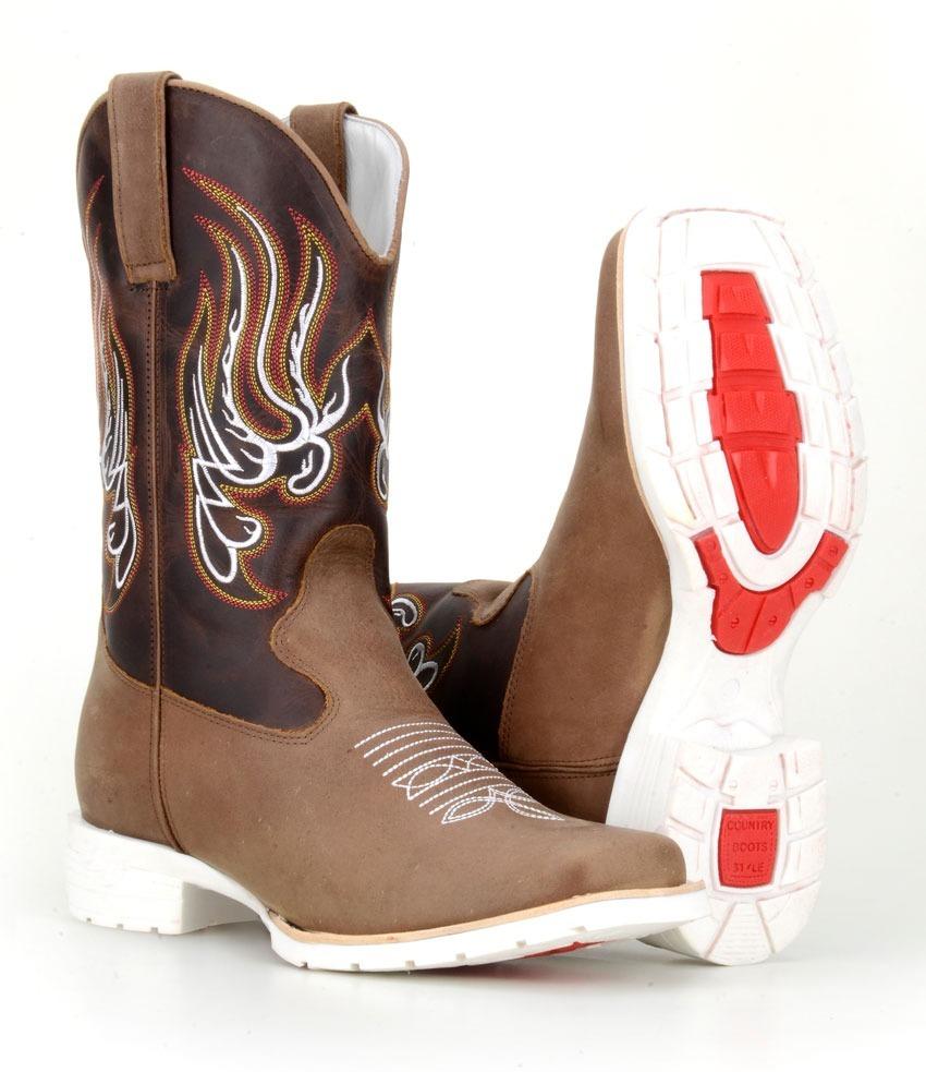 bota country masculina texana western cano médio sola branca. Carregando  zoom. dfccd7b3c50