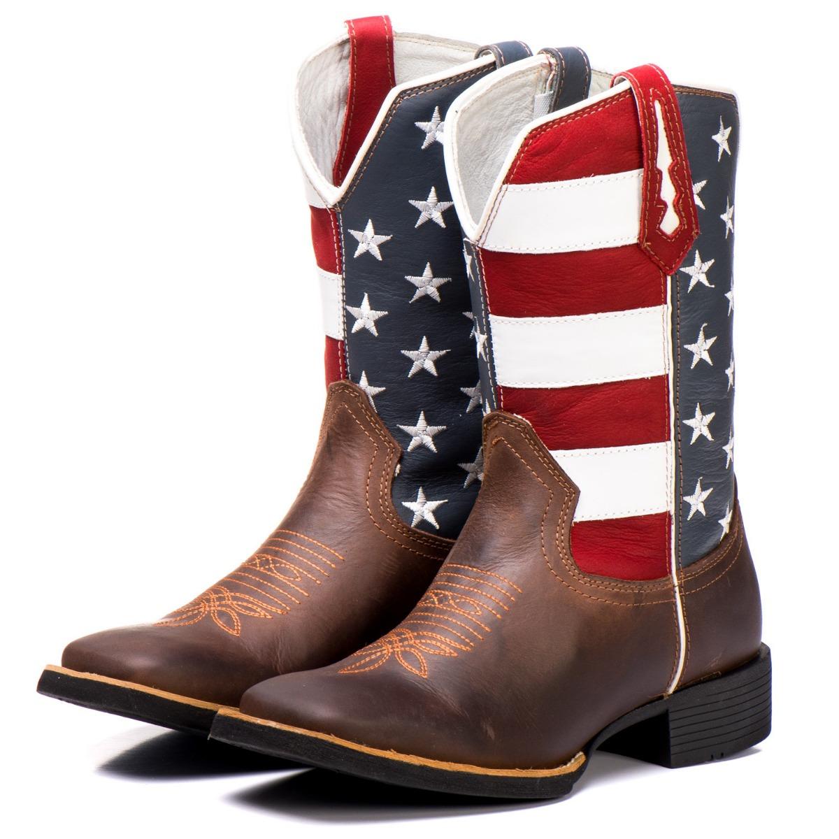 Bota Country Texana Couro Big Bull Estados Unidos Cano Alto - R  260 ... 07083a5457e