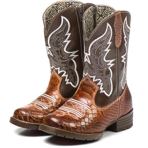 bota country texana infantil marrom masculina feminina nova