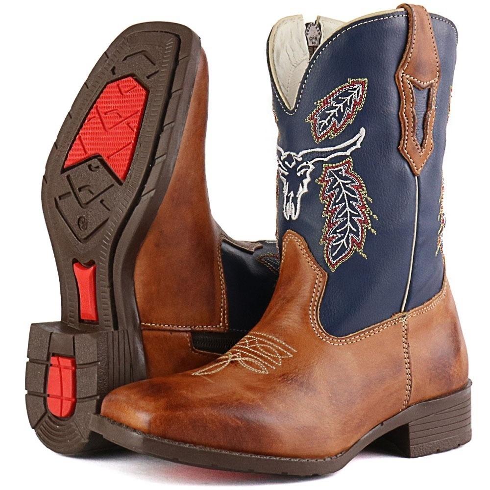 ... Azul 180 0b50e84563788b  bota country texana infantil marrom masculina  menino couro. Carregando zoom. 936b83a4baaf3