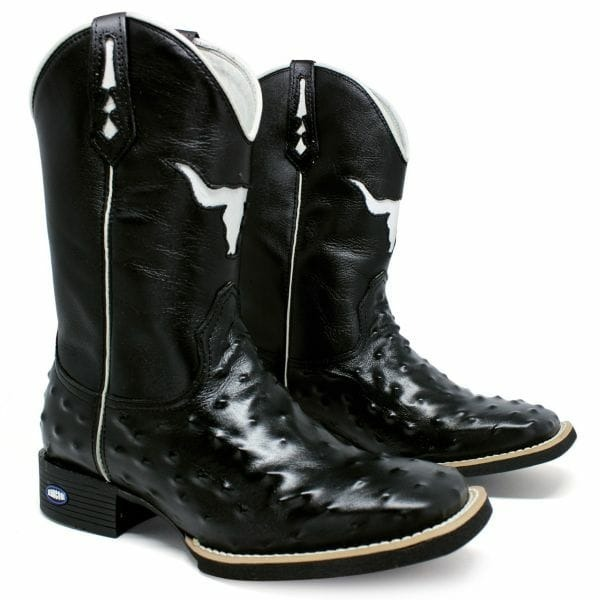e7c1d9f3178 Bota Country Texana Masculina Bico Quadrado Avestruz Réplica - R ...